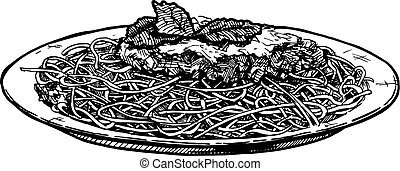 Spaghetti on plate - Vector hand drawn illustration of...