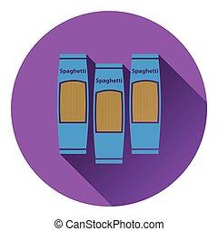Spaghetti package icon. Flat color design. Vector...