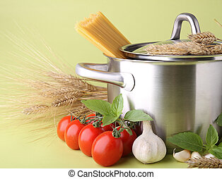 spaghetti, pan, bestanddeel