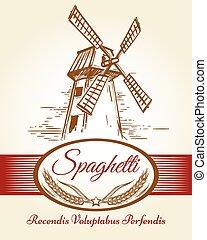 Spaghetti pasta bakery label