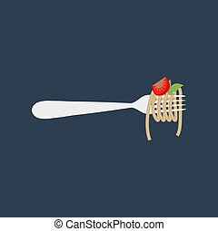 Spaghetti pasta llustration on the blue background. Vector...