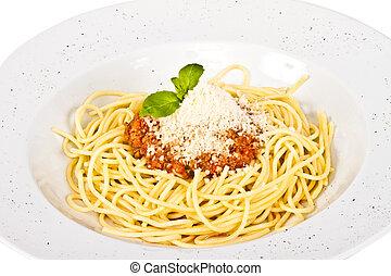 spaghetti, pasta, met, tomaat, rundvlees, saus