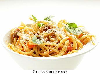 spaghetti, pasta, met, tomatensaus