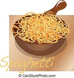 spaghetti, piastra., pasta.