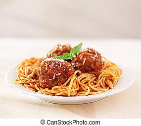 spaghetti polpette carne, con, copyspace