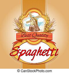 spaghetti, satz, etikett