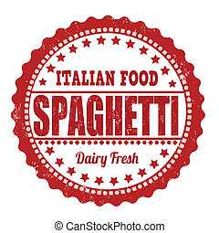 Spaghetti stamp - Spaghetti grunge rubber stamp on white,...