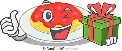 spaghetti, style, caractère, dessin animé, cadeau