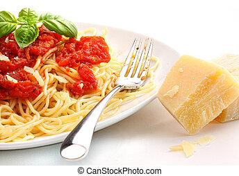 spaghetti, tagliatelle, con, salsa pomodoro casalinga, e,...