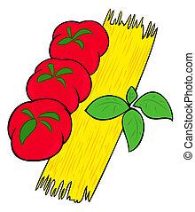 Spaghetti, tomatoes and basil leaves.