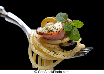 Spaghetti with bacon on fork