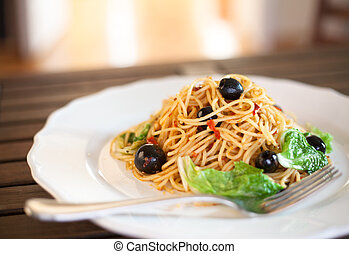 Spaghetti with black olives  - Spaghetti with black olives