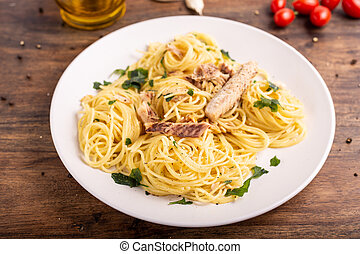 Spaghetti with blue fish, rich in omega 3 and proteins. Mediterranean food, italian food