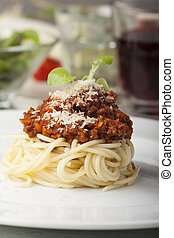 spaghetti with bolognese on a plate