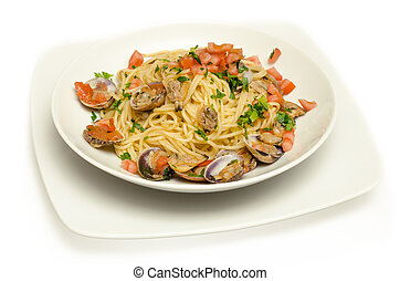 dish of italian pasta topped with clams and fresh tomato