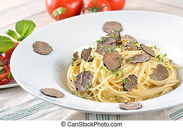 Spaghetti with fresh truffle - Pasta with fresh Italian...