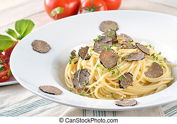 Spaghetti with fresh truffle - Pasta with fresh Italian...
