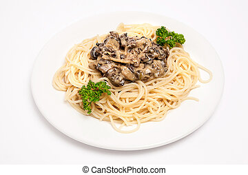 spaghetti with mushrooms and sauce