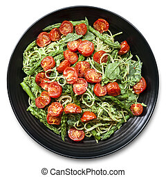Spaghetti with Roasted Tomatoes and Asparagus Pesto
