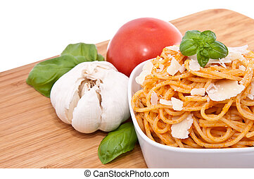 Spaghetti with sauce ingredients