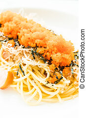 Spaghetti with sausage , shrimp egg , seaweed , dry squid on top