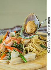 Spaghetti with Spicy Mixed Seafood.