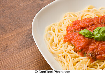 Spaghetti with Toamto Sauce - photo of italian spaghetti...