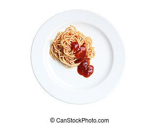 Spaghetti with tomato sauce on white background.