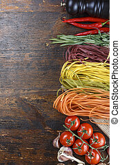 spaghetti with vegetables on the table