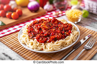 Spaghetti with vegetables.