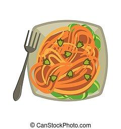 spaghuetti, fourchette, plat