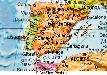 spagna, paese, mappa, .