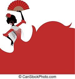 spagnolo, fondo, ballo