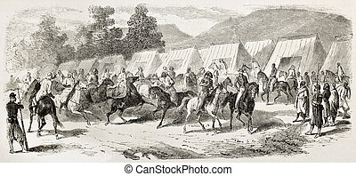 Spahis encampment in Toulon, old illustration (French army...