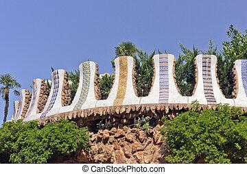 spain., 公園ランドマーク, バルセロナ, guell.