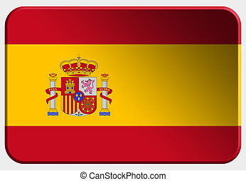 Spain 3D button on white background