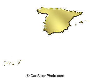 Spain 3d Golden Map - Spain 3d golden map isolated in white