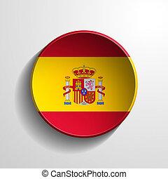 Spain 3d Round Button