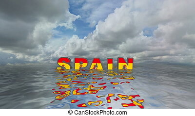 Spain 3d text floating on water vacation concept