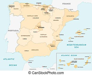 Vector Clip Art Of Portugal And Spain Political Map With Capitals - Portugal map english