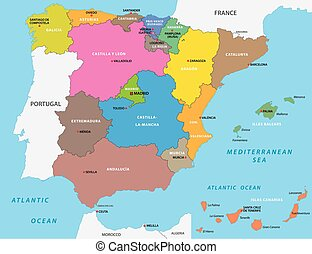 Vector Clip Art Of Portugal And Spain Political Map With Capitals - Spain political map