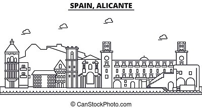Spain, Alicante architecture line skyline illustration. Linear vector cityscape with famous landmarks, city sights, design icons. Editable strokes