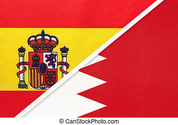 Spain and Bahrain, symbol of two national flags from textile. Relationship, partnership and championship between European and Asian countries.