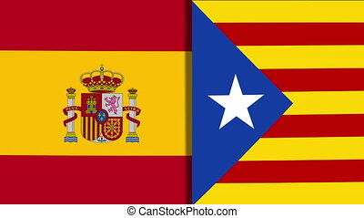 Spain And Catalonia Flags - Mix of Two Realistic Waving...