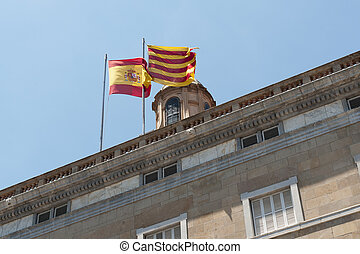 Spain and Catalonia flags on the top of Catalonia government...