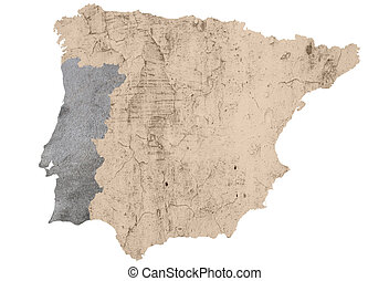 Spain and Portugal - a map of iberian peninsula textured and...