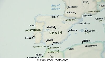 Spain and Portugal on a Political Map with Defocus