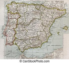 Spain and Portugal political map. By Paul Vidal de Lablache,...