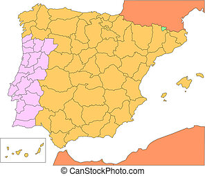Spain and Portugal with Administrative Districts and...