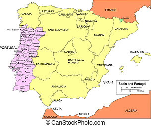 Spain and Portugal, editable vector map broken down by regions, includes surrounding countries, in color with Portuguese cities, names, all objects editable. Great for building sales and marketing territory maps, illustrations, web graphics and graphic design. Includes sections of surrounding ...